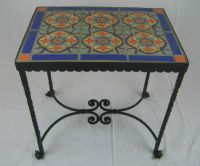 spanish revival california tile & wrought iron table | eBay