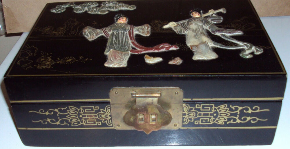 CHINESE MOTHER PEARL BLACK LACQUER JEWELRY BOX EBay