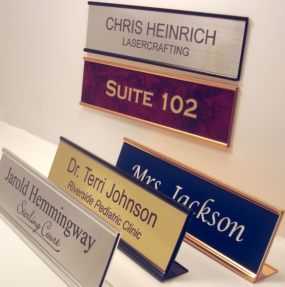 NAME PLATE for office desk or door sign  plaque