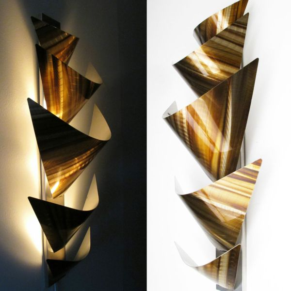 Modern Abstract Metal Wall Art Accent Lamp Painting