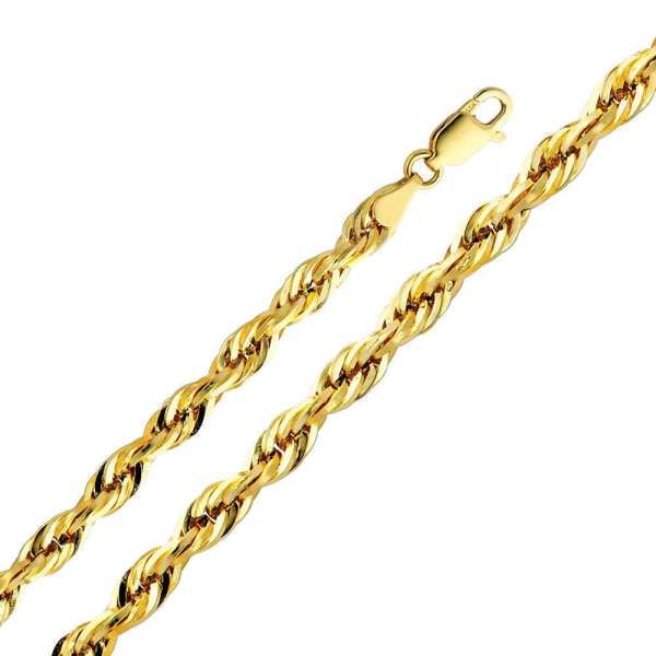 14k Yellow Gold 5mm Diamond Cut Hollow Rope Chain Necklace 24