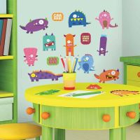 35 New MONSTERS WALL DECALS Blue Pink Purple Orange ...
