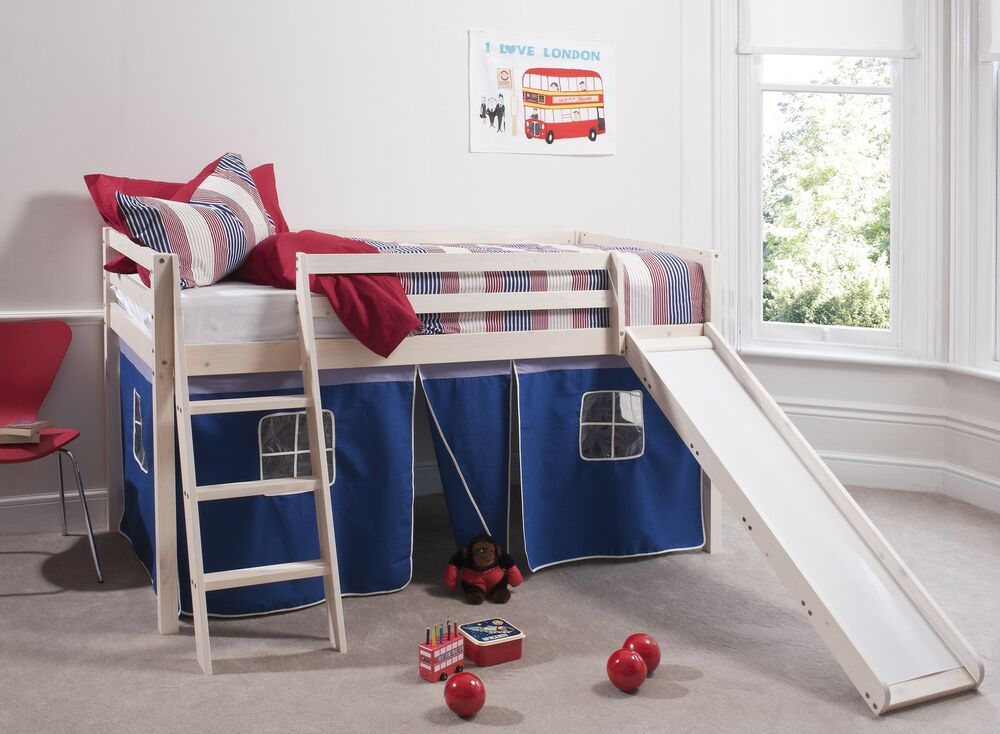 Cabin Bed White Mid Sleeper Bunk With Slide BlueTent 6005 EBay