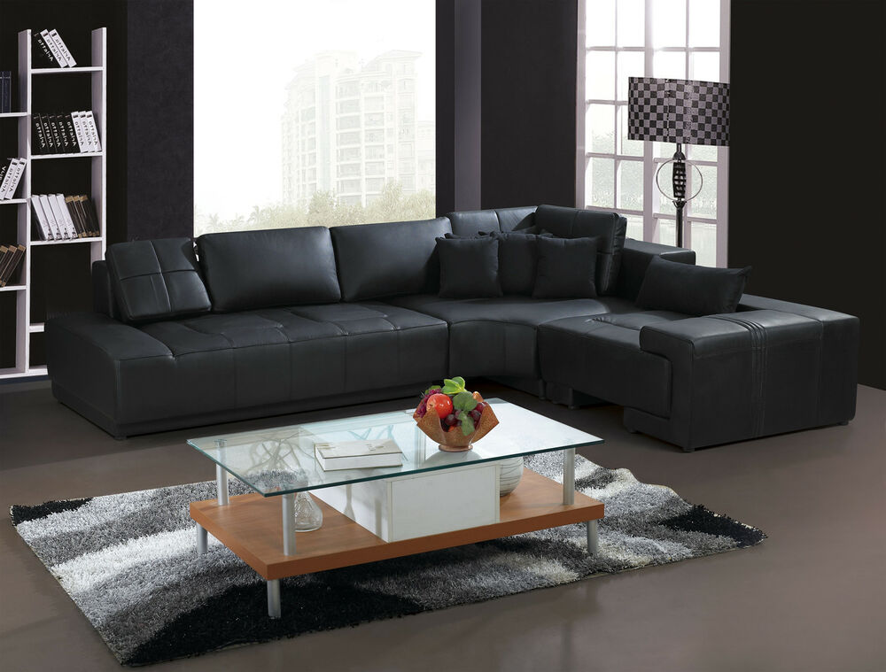 Franco Collection Modern L Shaped Leather Sofa Couch Black or White with Pillows  eBay