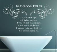 Bathroom Rules Quote, Vinyl Wall Art Sticker Decal Mural ...