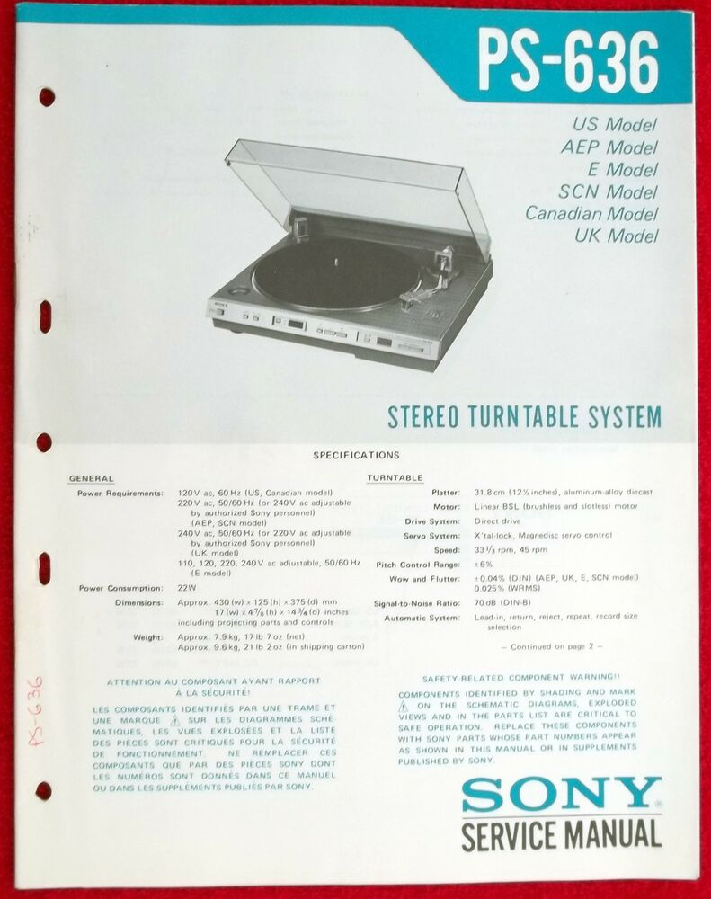 Original Factory Sony PS-636 Turntable Record Player