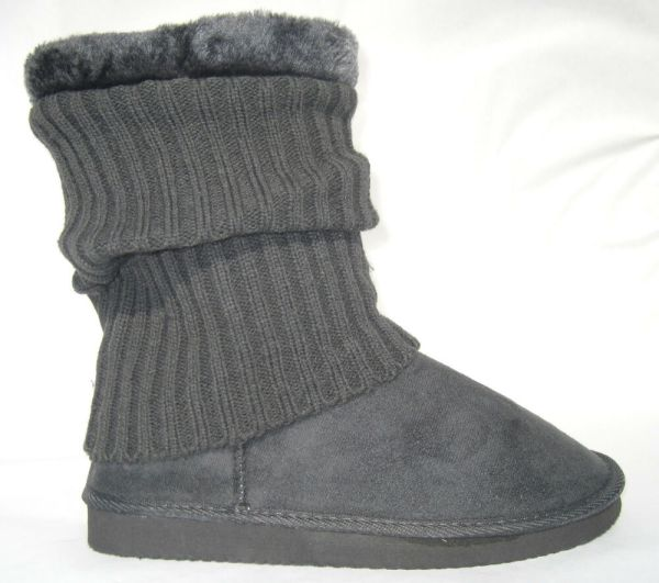Grey Slouch Boots With Sock Cover Faux Suede Shearling