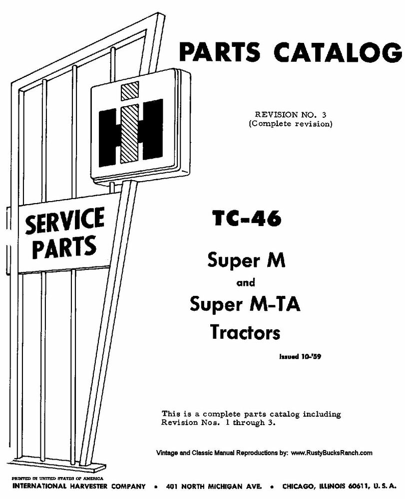 FARMALL IH Models SUPER M and SUPER MTA Parts Manual TC-46