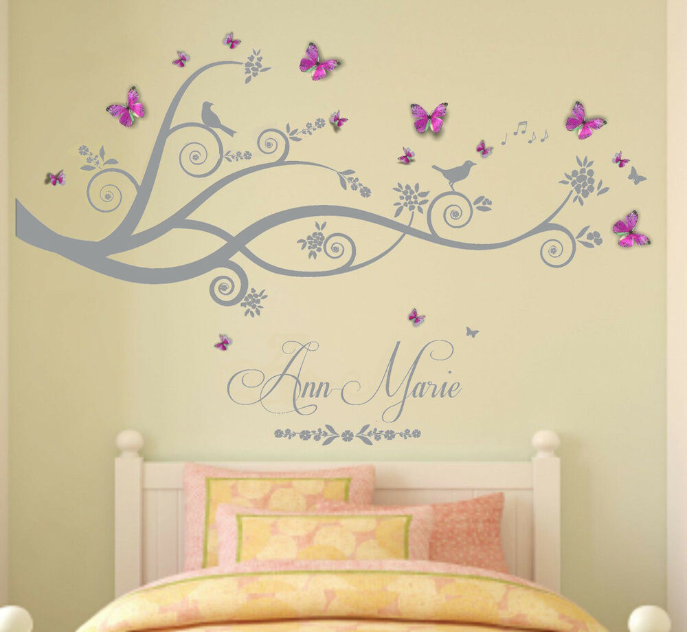 wall painting designs for living room in india oak furniture sale personalised name, tree, birds, 3d butterflies - art ...