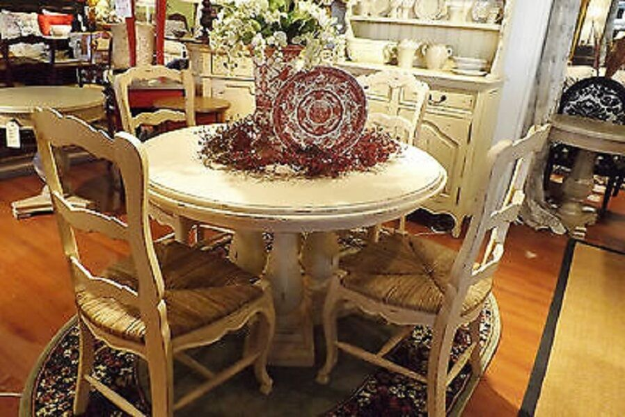 "French Country Column Dining 48"" Round Dining Table Off"
