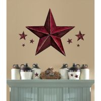 New Giant BURGUNDY BARN STAR WALL DECALS Country Kitchen ...