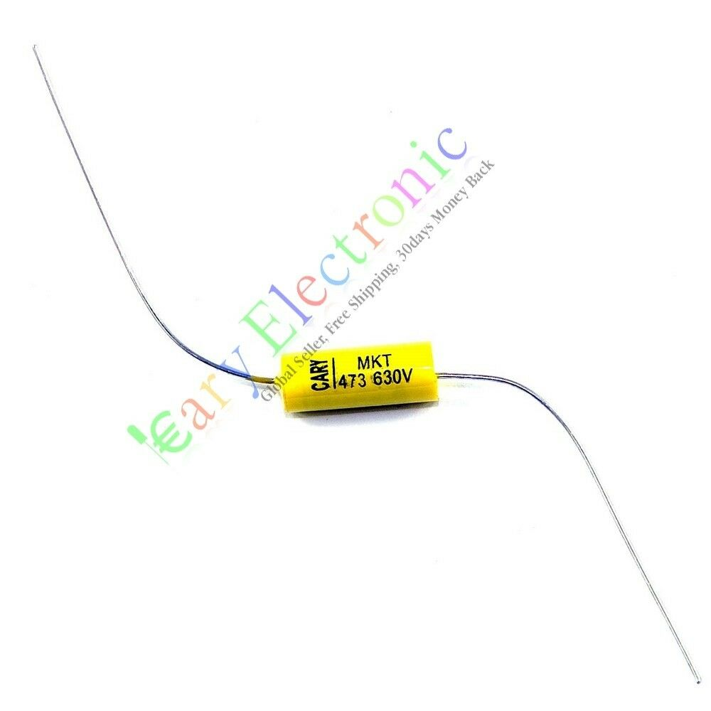 10pcs yellow long lead Axial Polyester Film Capacitor 0