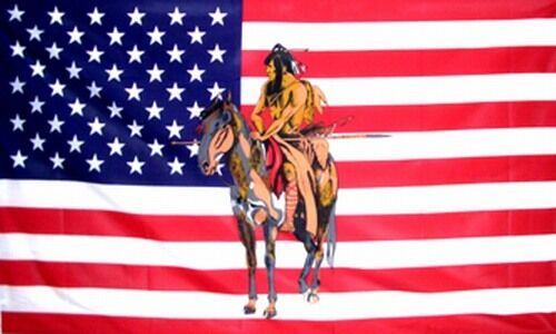 Indian on Horse US Flag 3x5 ft USA America Native American