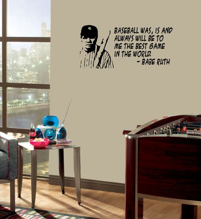 Babe Ruth WALL QUOTE Baseball vinyl wall lettering quote