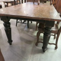 "72"" Farmhouse Leg Dining Table Black Distressed Reclaimed ..."