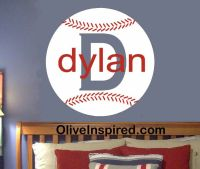 Baseball Sports Theme PERSONALIZED Vinyl Wall Decal Art