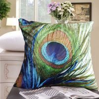 Elegant Peacock feather design both sides throw pillow
