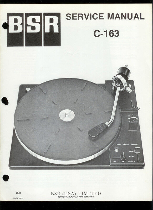 Original Factory BSR C-163 Turntable/Record Player Service