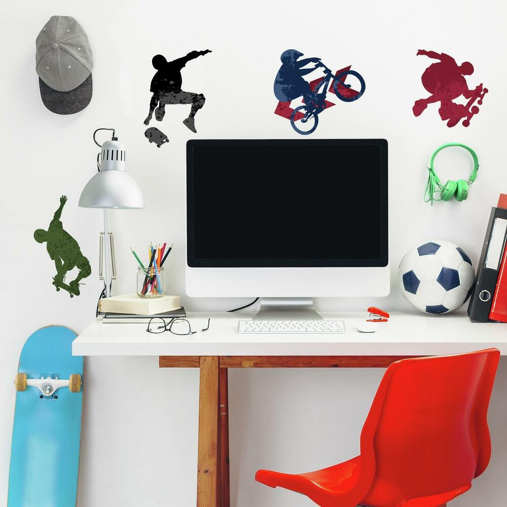 25 New EXTREME SPORTS WALL DECALS Skateboarding Biking