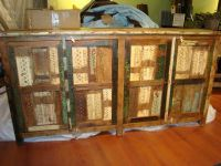 India Reclaimed Wood Painted Multi Colored Buffet Cabinet