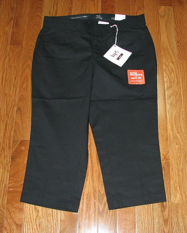 Dockers Women Metro Black Beige Capri Pants Sizes Nwt