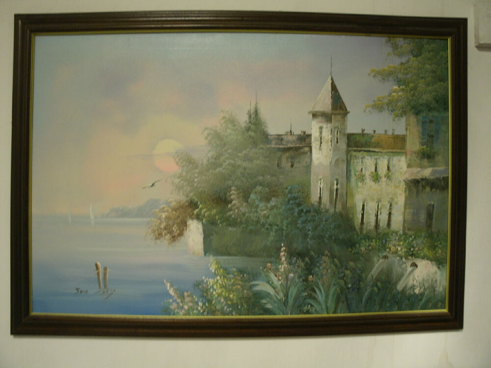 Original Oil Painting Castle By The Sea Large 36x24 Jane