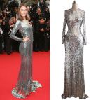 Silver Long Sleeve Evening Dresses for Women