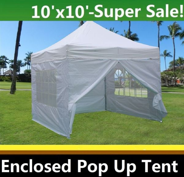 10'x10' Enclosed Pop Canopy Party Folding Tent Gazebo