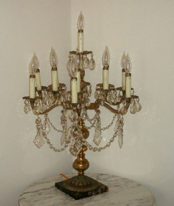 Antique French Brass Crystal Table Lamp Light Chandelier
