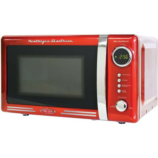 Retro Red 0.7 Cu. Ft. Countertop Microwave Compact Vintage Electric Dorm Oven
