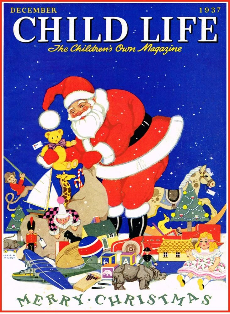 SANTA CLAUS CHRISTMAS CHILD LIFE MAGAZINE COVER 1937