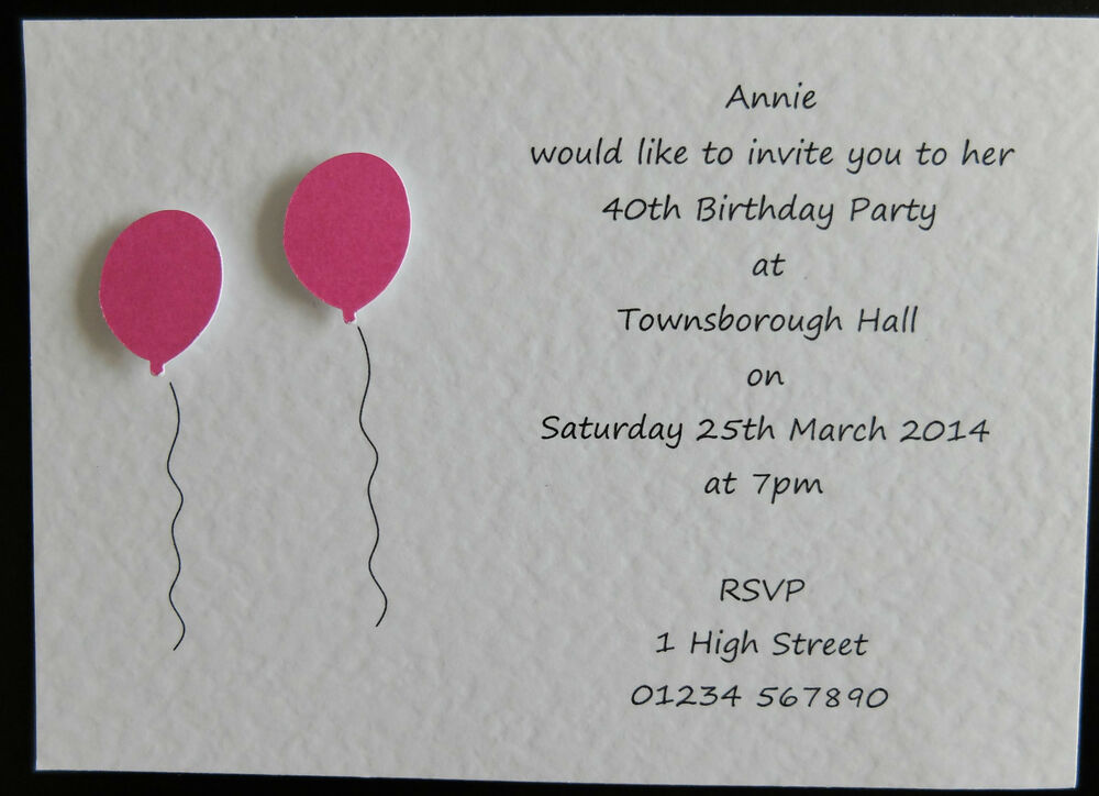 10 Handmade Personalised Birthday Invitations 18th 21st