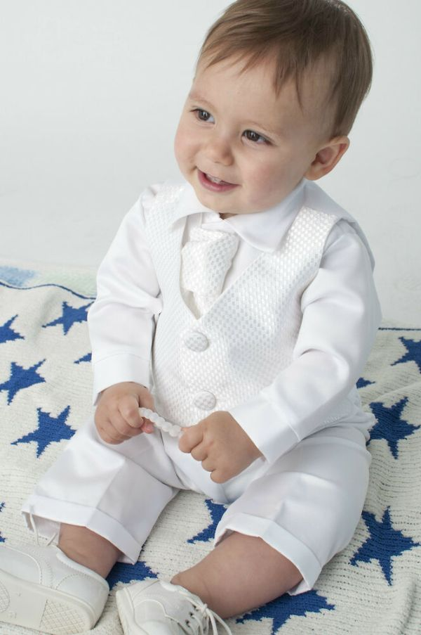 Baby Boys 4 Piece Christening Outfit Suit White Check