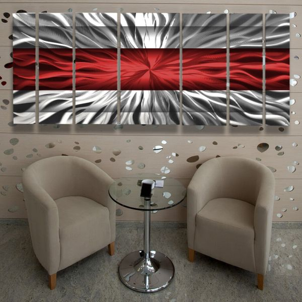 Metal Wall Art Modern Contemporary Abstract Sculpture Red