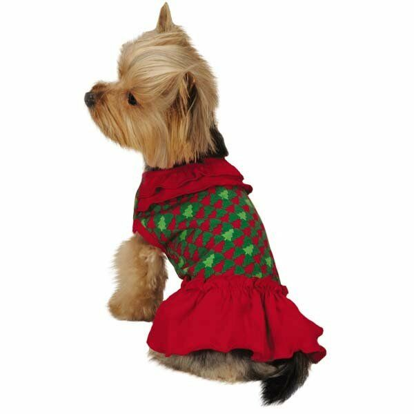 Holiday Houndstooth Ruffle Dog Dress High Cut Belly Red