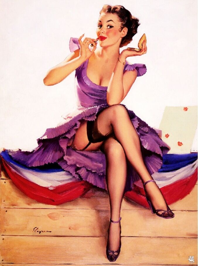 1940s Pin Up Girl Putting On My Makeup Picture Poster