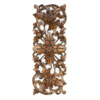 Balinese Traditional LOTUS FLOWER carved wood panel Bali ...
