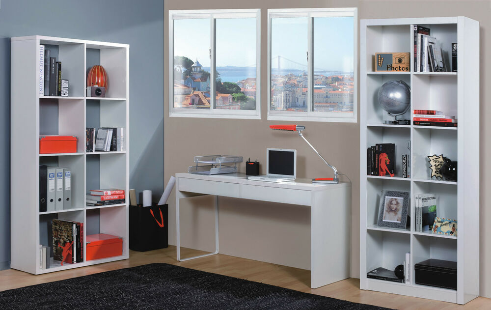 Milan White Gloss Computer Desk Table Bookcase Office