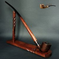 WOODEN SMOKING PIPE + STAND Lotr Gandalf Hobbit ...