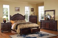 Traditional Queen King Size Bed Set Vevila Cherry 5pc ...