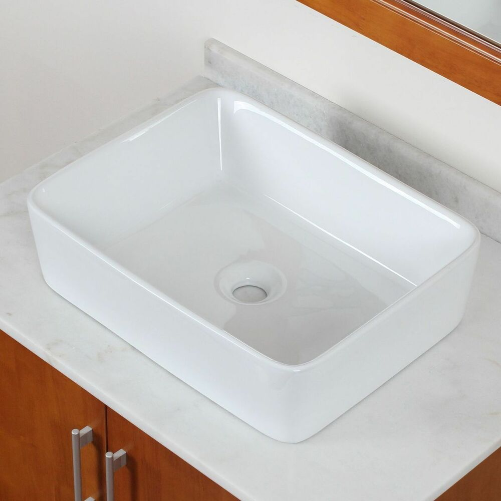 Brand New Bathroom White Square Ceramic Porcelain Vessel Sink for FaucetVanity  eBay