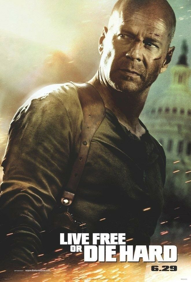 LIVE FREE OR DIE HARD 4 MOVIE POSTER 1 Sided ORIGINAL 27x40 BRUCE WILLIS  eBay