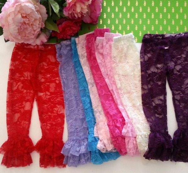 Girls Infant Baby Toddlers Ruffle Floral Lace Tights