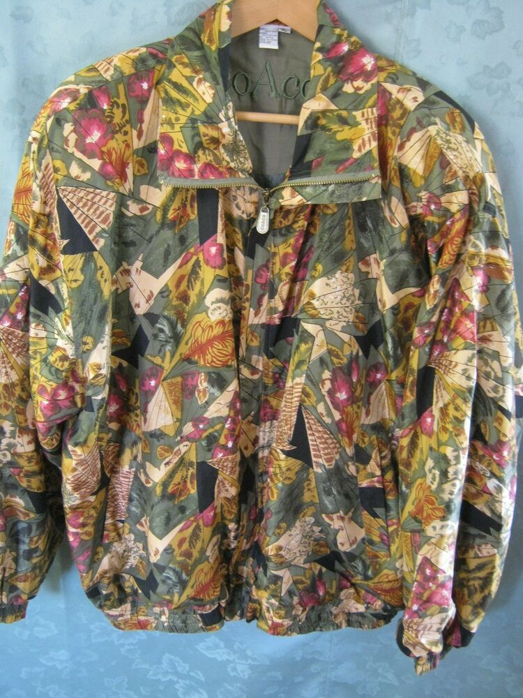 Vintage Womens Coaco Jacket Size XL Silk Bomber Zip Front Lined  eBay