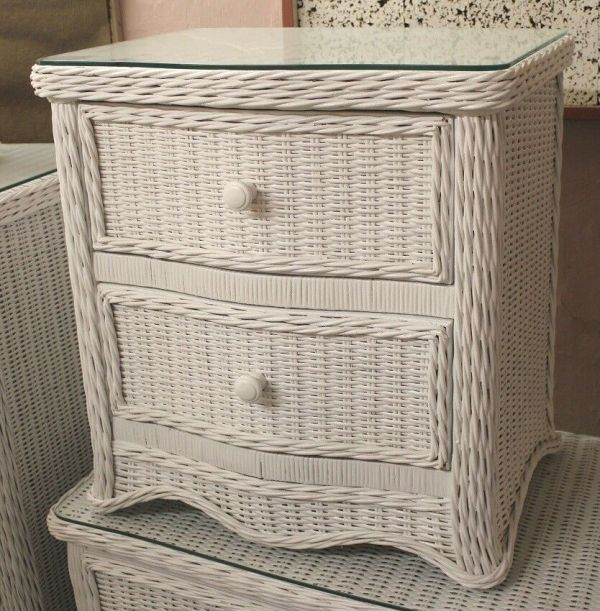 White Two Drawer Florentine Wicker Night Stand Telephone Table