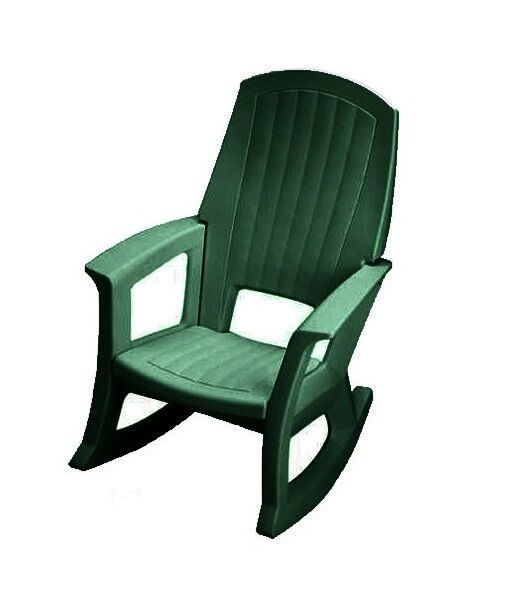 Semco Plastics Green Resin Outdoor Patio Rocking Chair