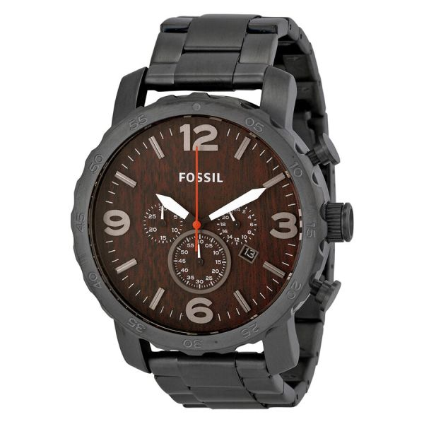 Fossil Nate Chronograph Wood Dial Stainless Steel Mens Watch Jr1355 691464881153