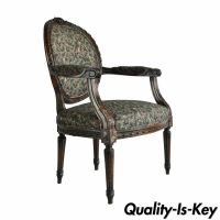 Vintage French Louis XVI Style Carved Walnut Fireside Arm ...