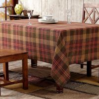 Kendrick Green Gold Red Plaid Burlap Cotton Country ...