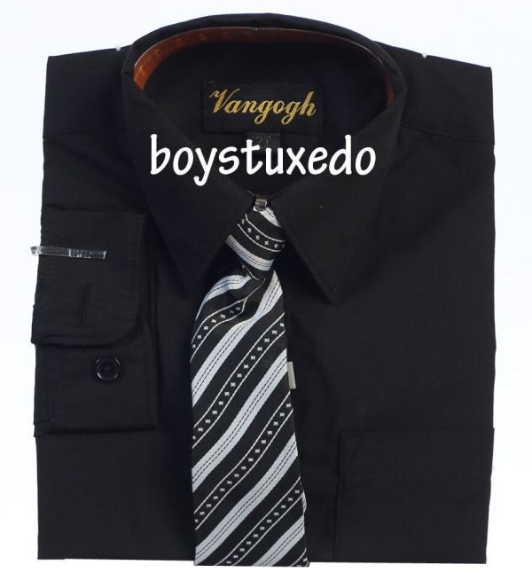 Boy' Toddler Black Solid Long Sleeve Dress Shirt With Tie Sizes 2t-20